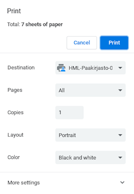 Printing settings: destination, pages, copies, layout, color, more settings.